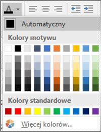 Menu koloru czcionki w programie Excel dla komputerów stacjonarnych z systemem Windows.