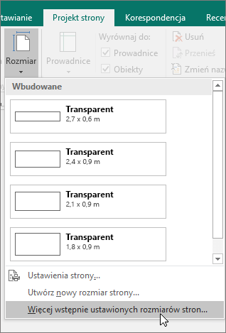 Zrzut ekranu przedstawiający opcję Więcej wstępnie ustawionych rozmiarów stron na karcie Projekt strony w programie Publisher.