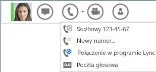 Zrzut ekranu: opcja nawiązywania połączenia