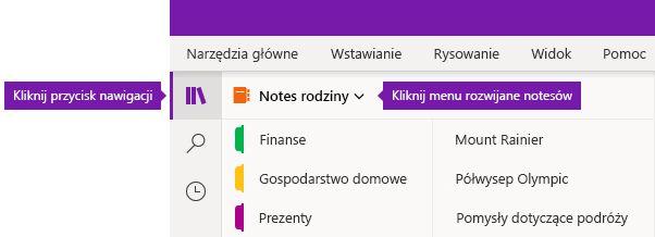Rozszerzenie listy notesów w programie OneNote dla systemu Windows 10