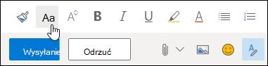 Zrzut ekranu przedstawiający czcionki opcja rozmiar na pasek narzędzi formatowania.