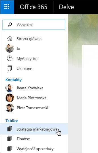 Zrzut ekranu przedstawiający listę Tablice w okienku po lewej stronie aplikacji Delve.