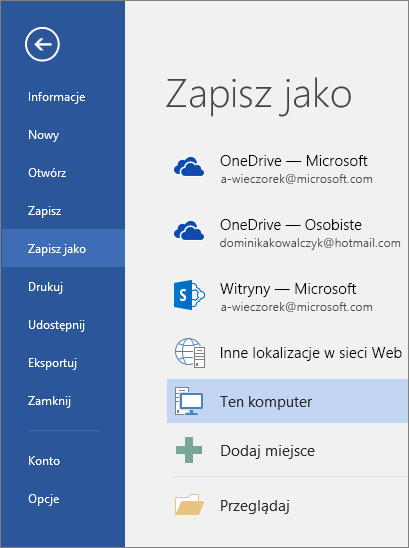 Opcje zapisywania jako widoczne po kliknięciu pozycji Ten komputer.