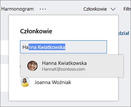 Zrzut ekranu przedstawiający listę członków podczas wprowadzania nazwy nowego członka planu.