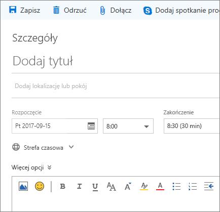 Zrzut ekranu przedstawiający okienko Nowe zdarzenie kalendarza