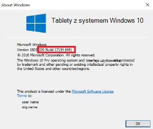 Obraz okna dialogowego wersja systemu Windows 10