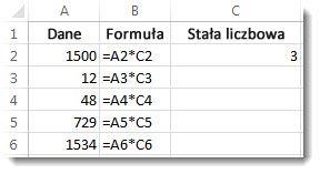Dane w kolumnie A, formuły w kolumnie B i liczba 3 w komórce C2