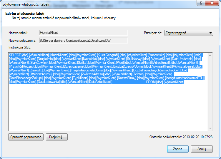Kwerenda SQL używana do pobierania danych