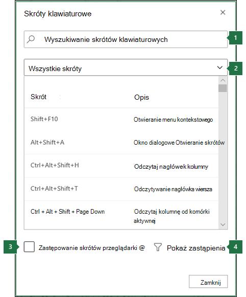 Okno dialogowe Skróty klawiaturowe