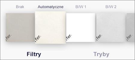 Opcje filtrowania dla zeskanowanych obrazów w aplikacji OneDrive dla systemu iOS