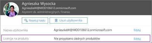 Zrzut ekranu przedstawiający informacje dotyczące użytkownika Lidia Nowakowska. W obszarze Licencje na produkty widać, że użytkownikowi nie zostały przypisane żadne produkty i jest dostępna opcja edycji.
