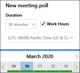 Czas trwania spotkania programu FindTime