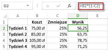 Wynik mnożenia przez wartość procentową w kolumnie D