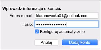 Dodawanie konta e-mail
