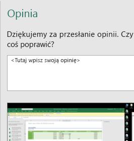 Opinia w oknie dialogowym programu Excel
