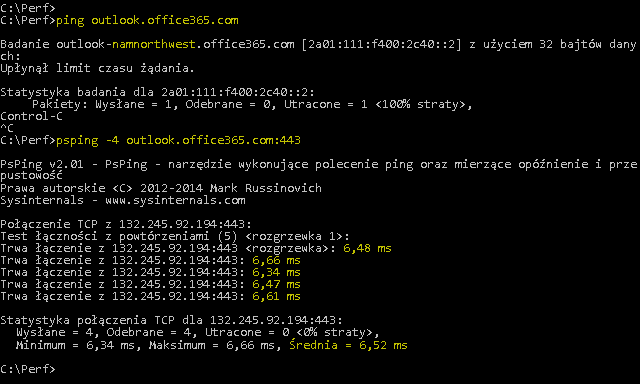 Zrzut ekranu przedstawiający polecenie ping w czasie rozpoznawania nazwy outlook.office365.com i polecenie PSPing na porcie 443 wykonujące te same działania, ale również raportujące średnią 6,5 milisekundy wartości RTT.
