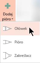 Subskrybenci Office 365 mogą rysować w trzech różnych teksturach: ołówka, pióra lub zakreślacza