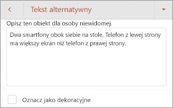 Okno dialogowe tekst alternatywny dla obrazu w programie PowerPoint dla systemu Android.