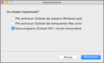 Ekran Importowanie z zaznaczonymi danymi programu Outlook 2011 na tym komputerze