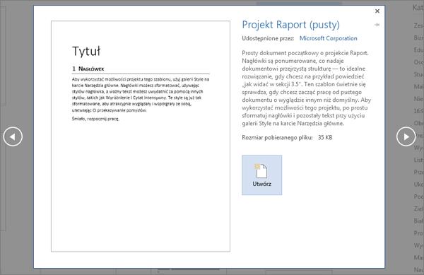 Podgląd szablonu projektu raportu w programie Word 2016.