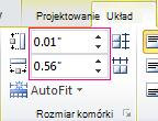 Ustaw wysokość i szerokość komórki tabeli
