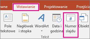 Przycisk numeru slajdu na wstążce w programie PowerPoint