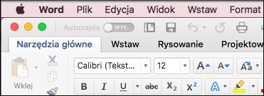 Wstążka w programie Word dla komputerów Mac w motywie klasycznym
