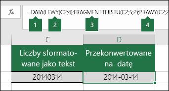 Konwertowanie ciągów tekstowych i liczb na daty