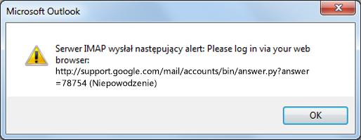 """Jeśli zostanie wyświetlony komunikat o błędzie """"Serwer IMAP wysłał następujący alert"""", sprawdź, czy w usłudze Gmail włączono mniej bezpieczne ustawienia, aby umożliwić programowi Outlook dostęp do wiadomości."""