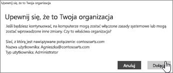 Na ekranie Upewnij się, że to Twoja organizacja kliknij opcję Dołącz