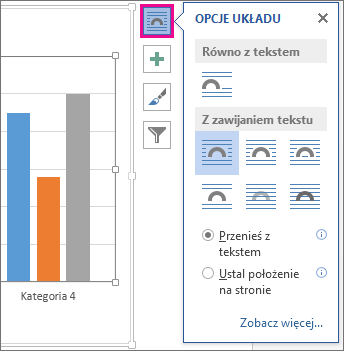 Obraz opcji układu wykresów w programie Word
