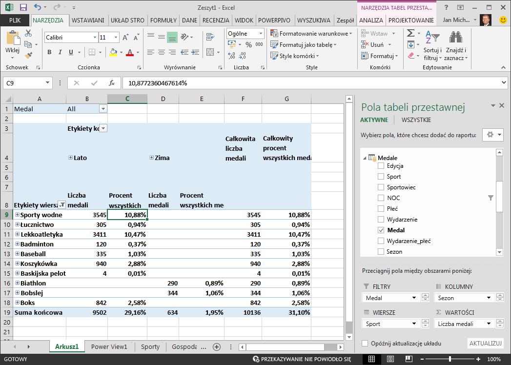 Tabela przestawna z wyświetlonymi danymi procentowymi