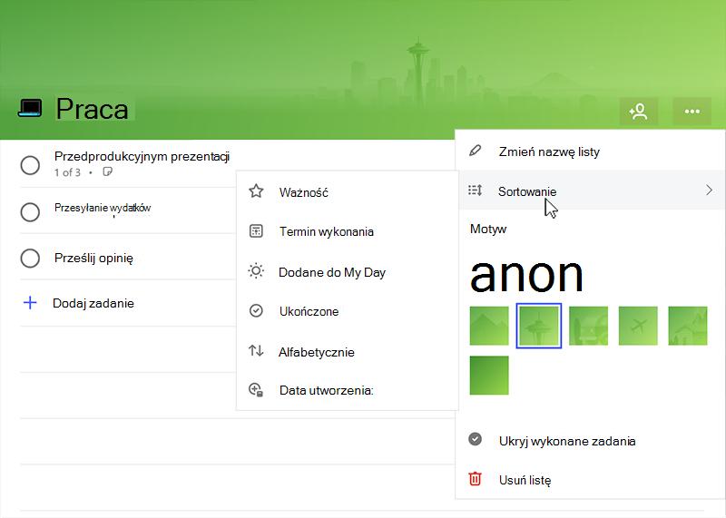 Zrzut ekranu przedstawiający menu Sortuj rozszerzony przy użyciu następujących opcji: znaczenie, ukończenia datę, dodanej do My Day wykonane alfabetycznie, Data utworzenia