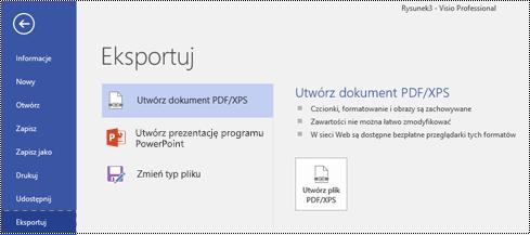 Opcja Eksportuj do pliku PDF na karcie Plik w programie Visio.