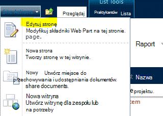 Polecenie Edytuj stronę wyświetlane w menu Akcje witryny