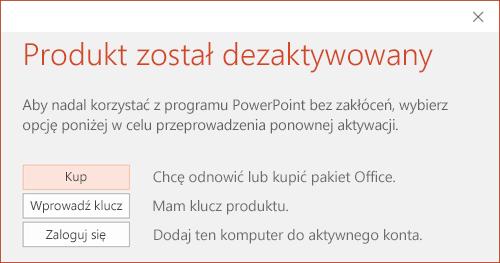 Komunikat informujący, że dezaktywowano instalację pakietu Office.