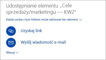 Zrzut ekranu przedstawiający sposób udostępniania pliku w usłudze OneDrive