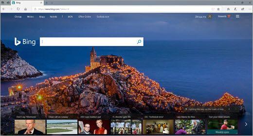 Okno przeglądarki Microsoft Edge