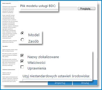 Zrzut ekranu przedstawiający widok modelu usług łączności biznesowej.