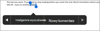 Naciśnij pozycję Nowy komentarz po zaznaczeniu tekstu w programie Word.