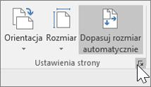 Zrzut ekranu przedstawiający pasek narzędzi Ustawienia strony z zaznaczoną pozycją Automatyczne dopasowywanie rozmiaru