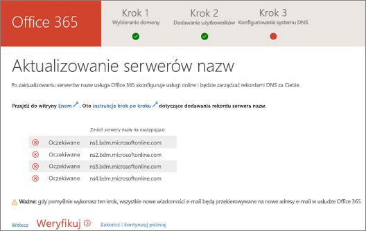 Zmienianie serwerów nazw