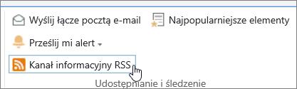 Karta biblioteki z wyróżnionym alertem RSS