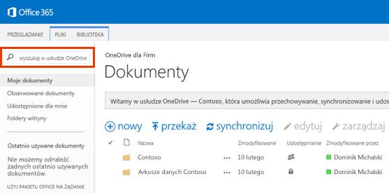 Zrzut ekranu przedstawiający pole zapytania usługi OneDrive w usłudze Office 365.