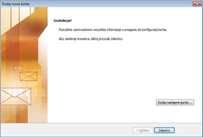 Powiadomienie o skonfigurowaniu konta