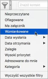 Funkcja Wzmianki w menu Filtruj pocztę e-mail umożliwia wyszukiwanie wiadomości e-mail, które zawierają @wzmiankę o Tobie