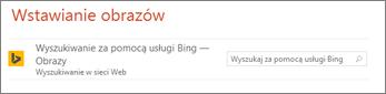Pole wyszukiwania obrazów w usłudze Bing