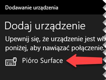 Wybierz pióro cyfrowe, aby poinformować system Windows, że chcesz je podłączyć przez Bluetooth do komputera