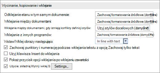 Opcje kopiowania i wklejania w programie Word