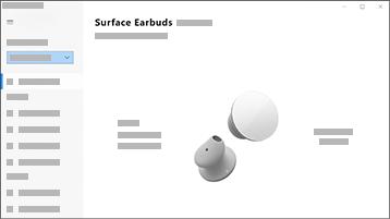 Zrzut ekranu przedstawiający aplikację Surface Audio wraz ze słuchawkami dousznymi Surface Earbuds